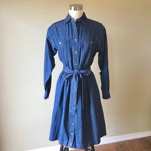 Vintage Long Sleeve Button Down Midi Denim Dress